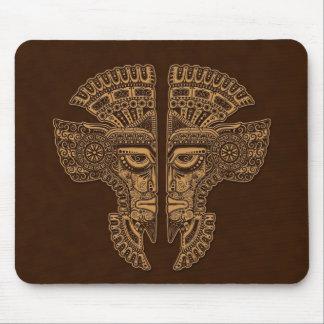 Brown Mayan Twins Mask Illusion Mouse Pad