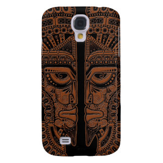 Brown Mayan Twins Mask Illusion on Black Galaxy S4 Cover