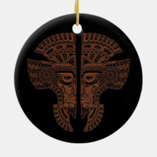 Brown Mayan Twins Mask Illusion on Black Double-Sided Ceramic Round Christmas Ornament