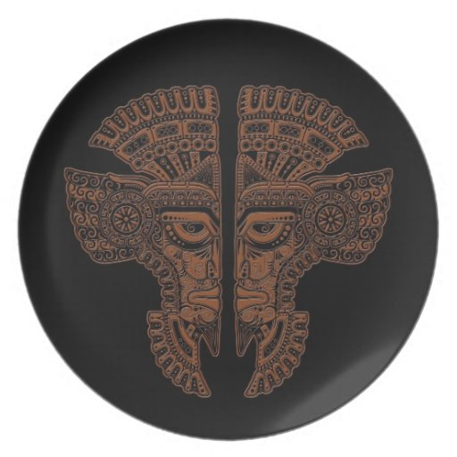 Brown Mayan Twins Mask Illusion on Black Plate