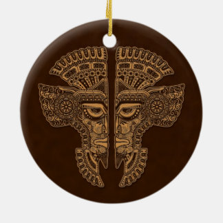 Brown Mayan Twins Mask Illusion Double-Sided Ceramic Round Christmas Ornament