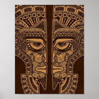 Brown Mayan Twins Mask Illusion Poster