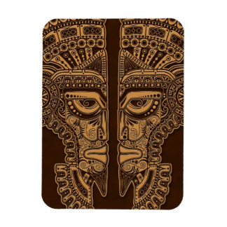 Brown Mayan Twins Mask Illusion Rectangle Magnets