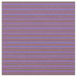 [ Thumbnail: Brown & Medium Slate Blue Colored Stripes Fabric ]