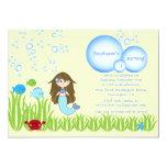 Brown mermaid cute girls birthday party invitation