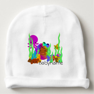 Brown Mermaid Under the Sea Personalized Baby Beanie
