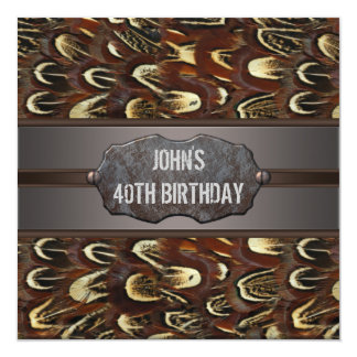 Brown Metal Feathers Mans 40th Birthday Party Card