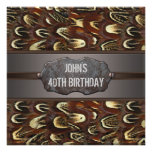 Brown Metal Feathers Mans 40th Birthday Party Personalized Invites