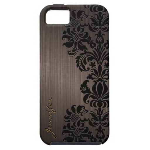 Brown Metallic Brushed Aluminum & Floral Damasks iPhone 5 Cases