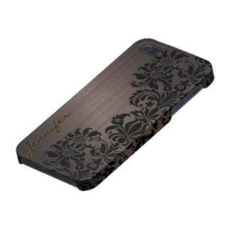 Brown Metallic Brushed Aluminum & Floral Damasks Case For iPhone SE/5/5s