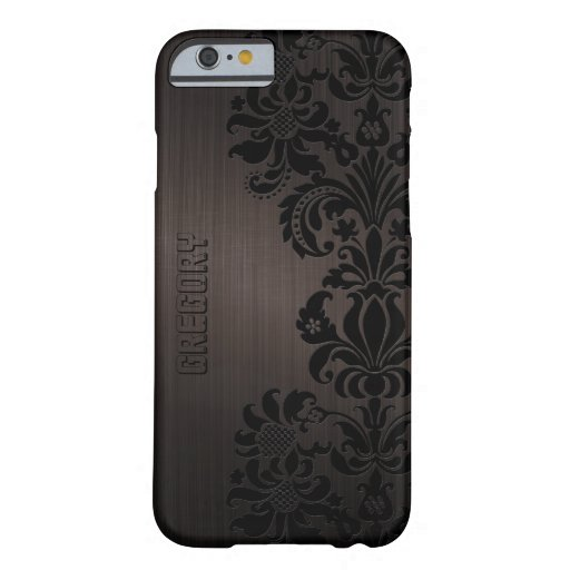 Brown Metallic Brushed Aluminum & Floral Lace iPhone 6 Case