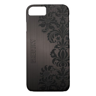 Brown Metallic Brushed Aluminum & Floral Lace iPhone 7 Case