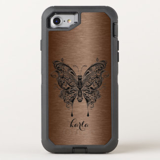 Brown Metallic Texture & Black Tribal Butterfly OtterBox Defender iPhone 7 Case