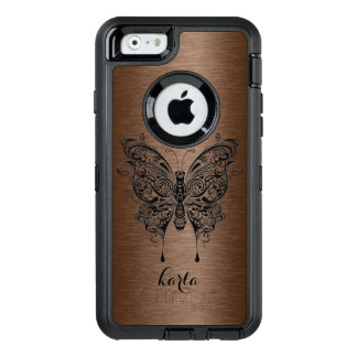 Brown Metallic Texture & Black Tribal Butterfly OtterBox Defender iPhone Case