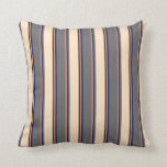 [ Thumbnail: Brown, Midnight Blue, Dim Grey, Bisque, and Black Throw Pillow ]