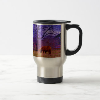 Brown miniature Horse  Purple sky Travel Mug