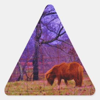 Brown miniature Horse  Purple sky Triangle Sticker