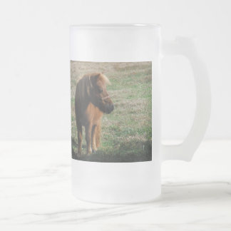 Brown Miniature Horses Frosted Glass Beer Mug