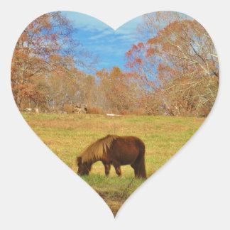 Brown miniature Pony Heart Sticker