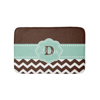 Brown Mint Chevron Monogram Bathroom Mat