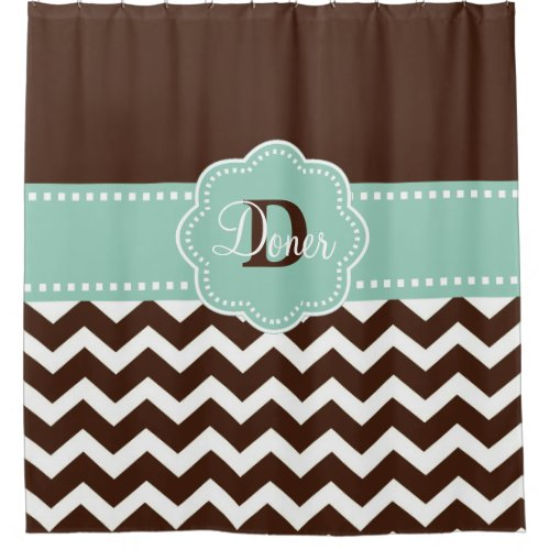 Brown Mint Chevron Personalized Shower Curtain