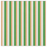 [ Thumbnail: Brown, Mint Cream, and Forest Green Lines Fabric ]
