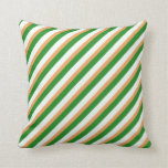 [ Thumbnail: Brown, Mint Cream, and Forest Green Lines Pillow ]