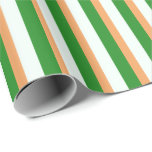 [ Thumbnail: Brown, Mint Cream, and Forest Green Lines Wrapping Paper ]