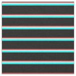 [ Thumbnail: Brown, Mint Cream, Aqua, and Black Lines Fabric ]