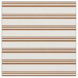 [ Thumbnail: Brown & Mint Cream Colored Striped/Lined Pattern Fabric ]