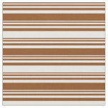 [ Thumbnail: Brown & Mint Cream Colored Striped Pattern Fabric ]
