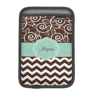 Brown Mint Green Scroll Chevron Personalized Sleeve For iPad Mini