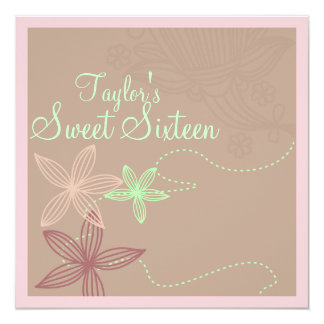 Brown Modern Floral Sweet16 Birthday Invite