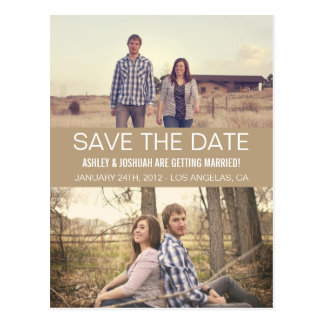 Brown Modern Photo Save The Date Post Cards
