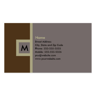 Brown moderno y tarjeta de visita gris del monogra