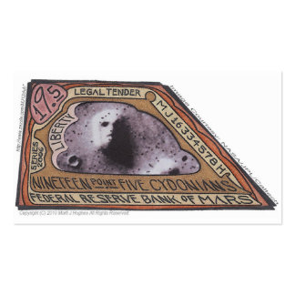 Brown Money-19.5 CYDONIANS-Martian Money ERROR! Double-Sided Standard Business Cards (Pack Of 100)