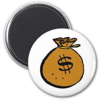 Brown moneybag refrigerator magnet
