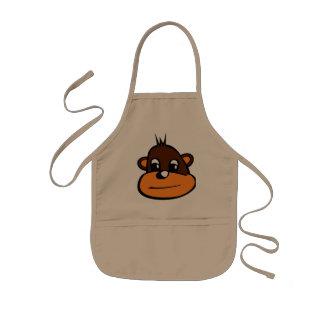 Brown Monkey Face Kids' Apron