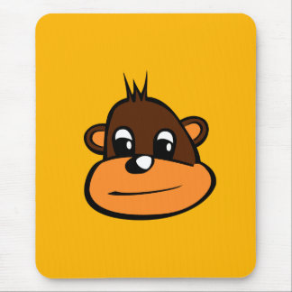 Brown Monkey Face Mouse Pad