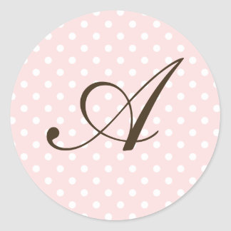 Brown Monogram A On Polka Dot Favor Labels Stickers