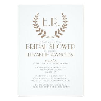 Brown Monogram Bridal Shower Invitations Custom Announcement