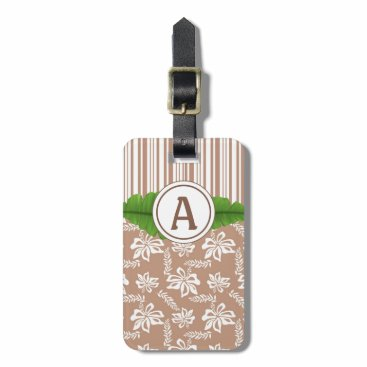 Beach Themed Brown Monogram Hawaiian Flower Beach Luggage Tag