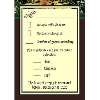 Brown Monogram Hunting Camo Wedding RSVP Cards zazzle_invitation
