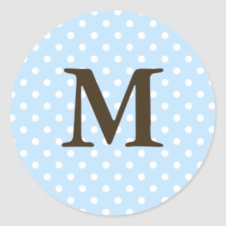 Brown Monogram M On Polka Dot Favor Labels Round Stickers