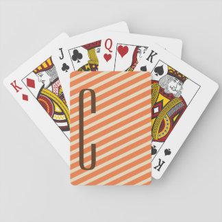 Brown Monogram on Retro Orange Diagonal Stripes Card Deck