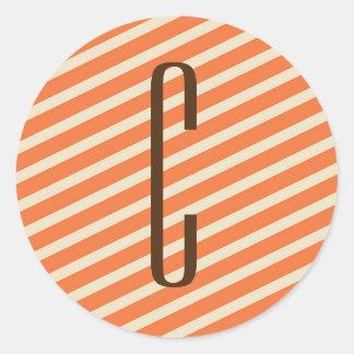 Brown Monogram on Retro Orange Diagonal Stripes Classic Round Sticker