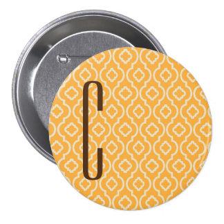 Brown Monogram on Retro Orange Pattern Pin