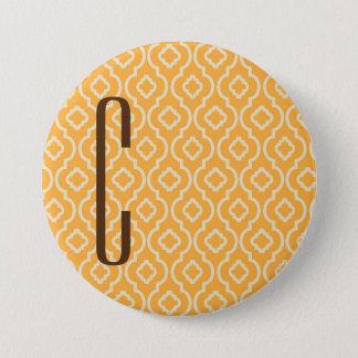 Brown Monogram on Retro Orange Pattern Pinback Button