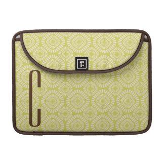 Brown Monogram on Retro Sage Green Pattern Sleeve For MacBooks
