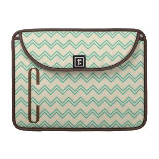 Brown Monogram on Turquoise Green Chevron Pattern Sleeve For MacBooks